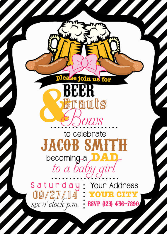 Throwing an awesome baby shower for dad beer brauts bows invite by swakstudio filmwisefo